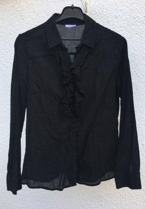 Schwarze Langarmbluse mit Rüschen