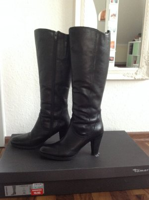 Schwarze Langschaft-Stiefel aus Leder mit Absatz von Tamaris in Größe 40