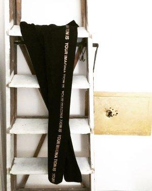schwarze laufhose / leggings / vintage / gold / sportswear / gym / tights