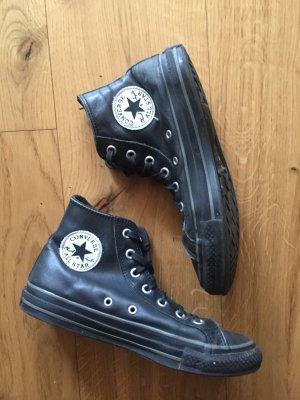 Schwarze Leder Chucks Converse All Star
