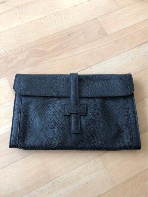 Schwarze Leder Clutch - Umhängetasche