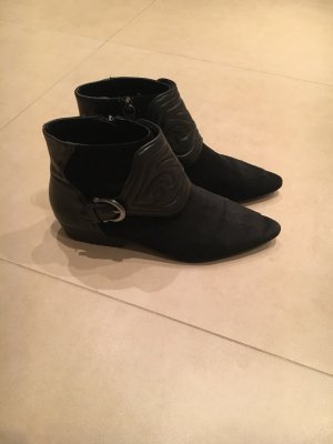 Schwarze Leder Cowboy Boots