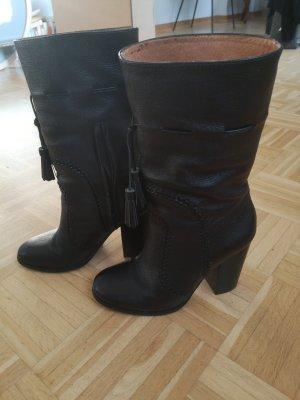 schwarze Leder Halbstiefel