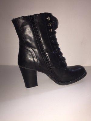 schwarze Leder High Heels / Stiefel mit Absatz ~ gothic Style
