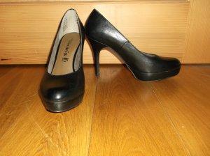schwarze Leder High Heels von Tamaris