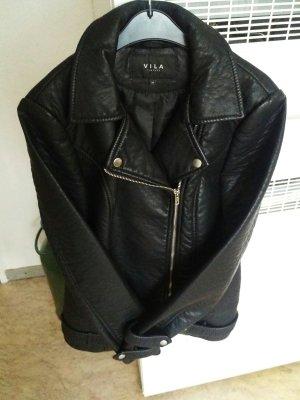 Schwarze Leder Jacke