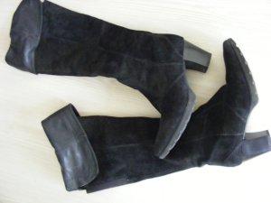 Schwarze Leder Overknee Stiefel zum krempeln