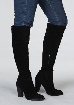 Schwarze Leder-Overknees mit Absatz