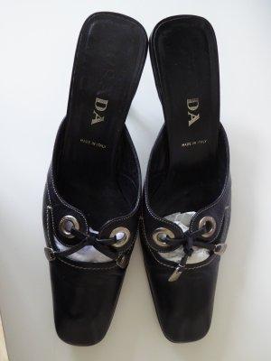 schwarze Leder Pantoletten Pumps