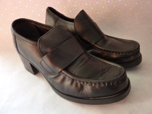 schwarze Leder Plateau Sandalen Schuhe, Lederschuhe,Damenschuhe,40