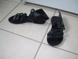 schwarze Leder-Sandalen Gr. 40 mit Flügeln von Ancient Greek Sandals