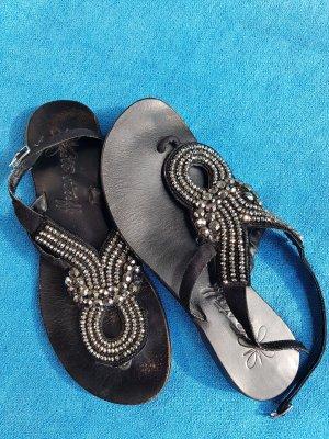 Sandalo infradito nero Pelle