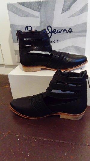 Schwarze Leder Schuhe mit cutout von pepe Jeans