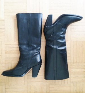 Schwarze Leder-Stiefel von Buffalo, Gr. 41