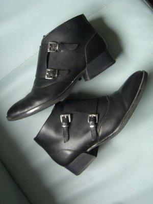 schwarze Leder Stiefelette