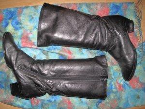 Schwarze Leder Vintage Stiefel mit Gold