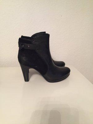Schwarze Leder-/Wildleder Stiefeletten High Heels Gr. 39 Neu
