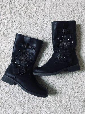 Schwarze LederBoots Stiefel mit Nieten