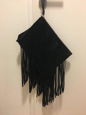 schwarze Lederfransenclutch