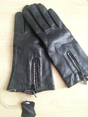 schwarze Lederhandschuhe mit steine