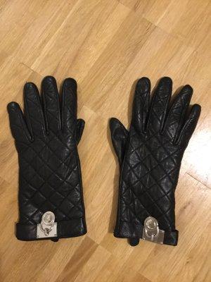 Michael Kors Guantes de cuero negro-color plata Cuero
