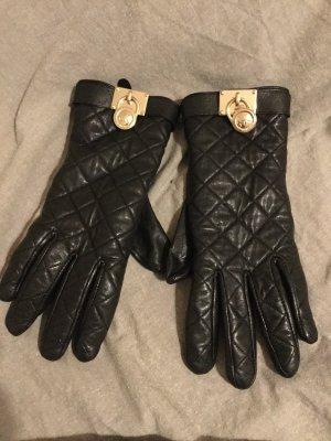Michael Kors Guantes de cuero negro-color oro