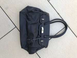 Schwarze Lederhandtasche im Birkinbag Stil