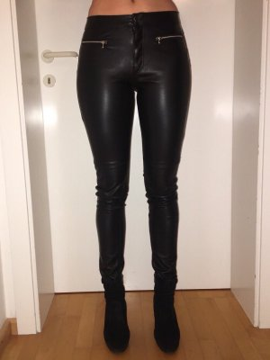 H&M Leather Trousers black imitation leather