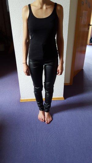 Schwarze Lederhose High Waist