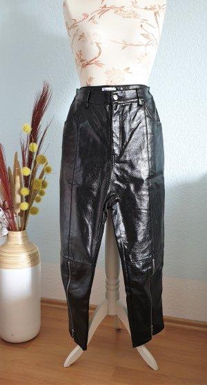 schwarze Lederhose, Kunstlederhose im Lackleder-Look von  Weekday