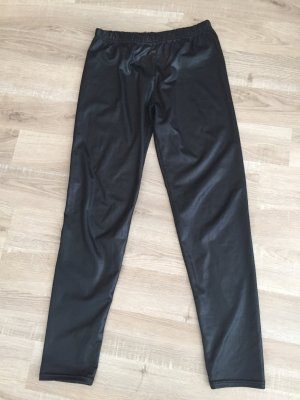 Schwarze Lederimitat Leggings