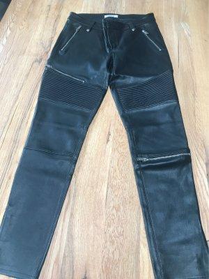 Zara Woman Pantalón de cuero negro Imitación de cuero