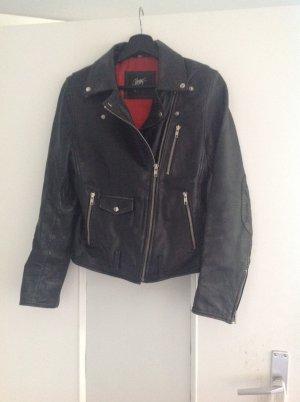0039 Italy Veste en cuir noir-rouge