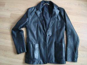 Schwarze Lederjacke, Blazer, echtes Leder, S-XS