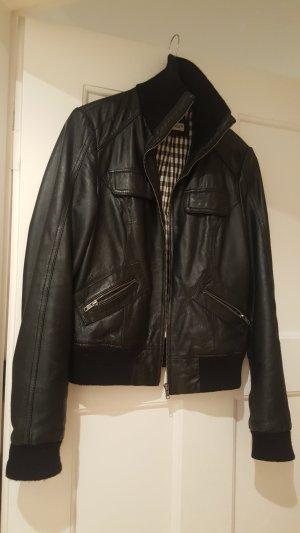 schwarze Lederjacke echtes Leder Gr. M