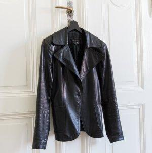 Schwarze Lederjacke im Blazer Style