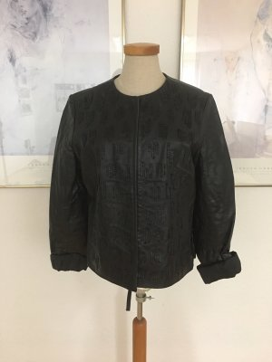 Schwarze Lederjacke kurz Pailetten Gr 40