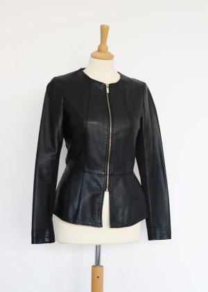 Amisu Veste en cuir noir-doré