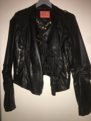 Toxik3 Faux Leather Jacket black-gold-colored