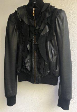 Schwarze Lederjacke Roberto Cavalli Seitentaschen welsche Leder