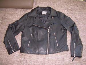 schwarze Lederjacke von Asos Gr. 44 Bikerjacke Echtleder