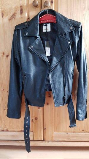 schwarze Lederjacke von Diesel