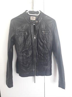schwarze Lederjacke von Only