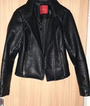 schwarze Lederjacke von s.Oliver