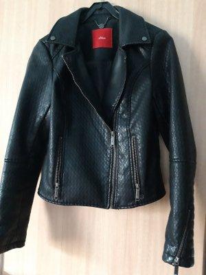 s.Oliver Leather Jacket black