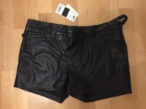 Mango Hot Pants black leather
