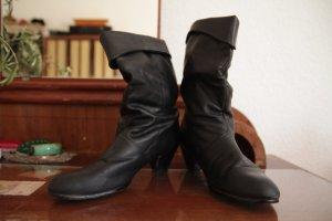 schwarze Lederstiefel mit Absatz - 80er Vintage