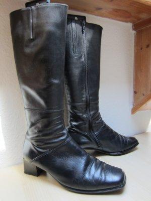 Schwarze Lederstiefel mit Blockabsatz - Größe 8