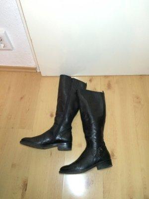 schwarze Lederstiefel, Stiefel aus Leder, schwarz, Gr. 38