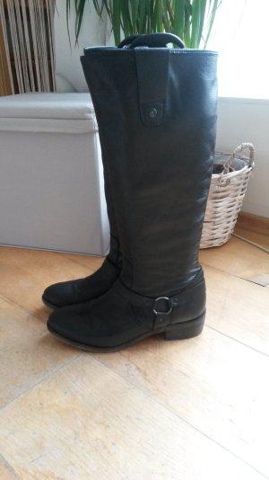 Schwarze Lederstiefel von Lazamani, Größe 40